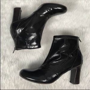 Franco Sarto patent leather heeled ankle boots